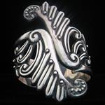 A.H. Sterling Repousse Cuff Clamper Bracelet Vintage Taxco Pre-Eagle