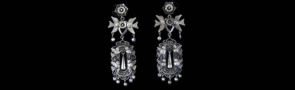 Slider – Sterling Silver Filigree Earrings with Birds & Flowers