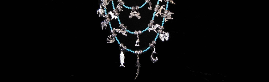 Slider – Sterling Silver Animals & Turquoise Necklace