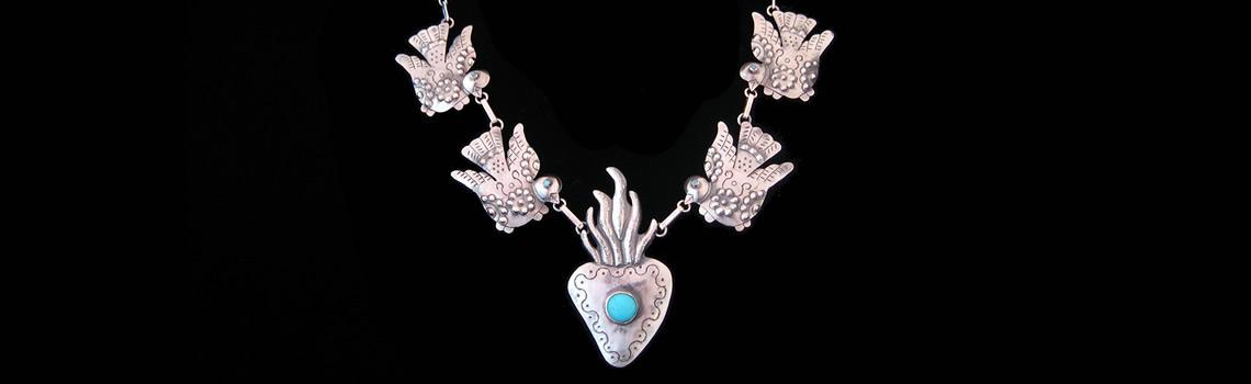 Slider – Sterling Silver Birds & Heart Necklace