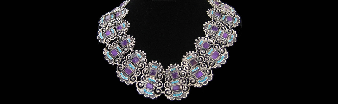 Slider – Vintage Sterling Silver, Turquoise & Amethyst Cleopatra Necklace