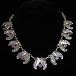 AEM Vintage Taxco Sterling Silver & Amethyst Necklace - Wing Motif