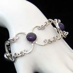 Carmen Armstrong Original Design Baroque Scroll Sterling Silver Bracelet with Amethysts