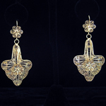 Carlos Ramos 14K Gold Mexican Filigree Earrings – Yucatan Style – Flor de Lis