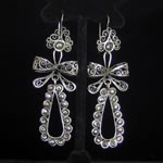 "Blue Jaguar Studio ""El Jardin"" Sterling Silver & Gray Pearl Oaxacan Earrings from Mexico"
