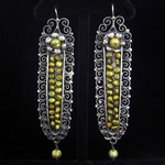 Blue Jaguar Studio Oaxacan Sterling Silver & Green Seed Pearl Extra Large Gusano Earrings