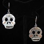 Day of the Dead Sterling Silver & Copper Skull Earrings