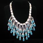 Carmen Armstrong Original Design Sterling Silver & Turquoise Pendant Bib Necklace
