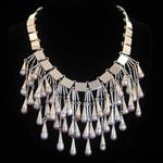 Carmen Armstrong Original Design Sterling Silver & Pink Pearls Pendant Bib Necklace