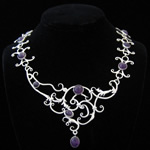 Carmen Armstrong Original Design Baroque Scroll Sterling Silver with Amethysts Necklace