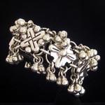 Hector Aguilar Reproduction Fine .950 Silver Repousse Pre-Columbian Bracelet with Cascabeles RB0098
