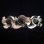Antonio Pineda Reproduction Fine .950 Silver & Black Obsidian Bracelet