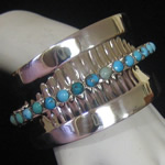 Antonio Pineda of Taxco Design Reproduction Cuff Bracelet in Fine .950 Silver & Turquoise