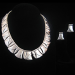 Hector Aguilar Reproduction Necklace and Earrings Fine .980 Silver – Applied Weave Pattern