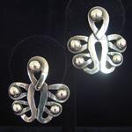 Hector Aguilar Reproduction .940 Fine Silver Pierced Earrrings Rocio Pattern by Jose Luis Flores