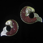 William Spratling Reproduction Sterling Silver & Rosewood Fish Earrings