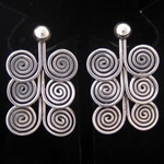 Coiled Sterling Silver Wire Circle Drop Earrings from Taxco, Mexico