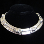 William Spratling Reproduction Sterling Silver Tubes & Discs Necklace