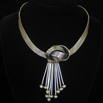 Antonio Pineda of Taxco Design Fine .950 Silver & Gray Pearl Necklace
