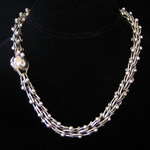Antonio Pineda Design Sterling Silver DNA Chain Necklace with Ball Clasp