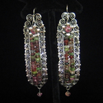 Blue Jaguar Oaxacan Sterling Silver Extra Large Gusano Earrings with Faceted Tourmalines