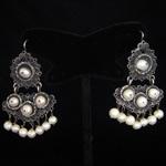 White Pearls & Sterling Silver Filigree Earrings from Oaxaca, Mexico