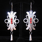 Aztec Motif Traditional Mexican Sterling Silver Filigree Earrings with Red Coral