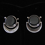 Antonio Pineda of Taxco Vintage Fine .970 Silver & Carved Black Onyx Modernist Earrings
