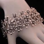 Feminine Flirtatious Floral Bracelet in Fine .950 Silver from Peru