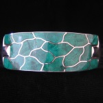 Sleek, Contemporary Inlaid Turquoise & Fine .950 Silver Hinged Bracelet from Peru