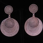 Contemporary Design Peruvian Fine .950 Silver Disk Filigree Earrings