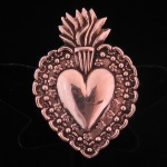 Repousse Sacred Heart Brooch/Pendant in Fine .950 Silver from Peru