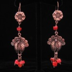 Folkloric Traditional Turkey Earrings in Fine .950 Silver from Peru